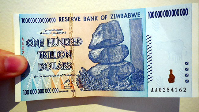 One Hundred Trillion Dollar banknote Zimbabwe