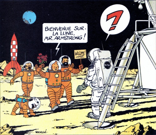 """Tintin : """"Bienvenue à la lune Mr Armstrong"""""""