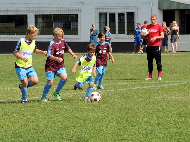 Roos aan het voetballen