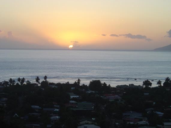 zonsondergang vanuit ons appartement