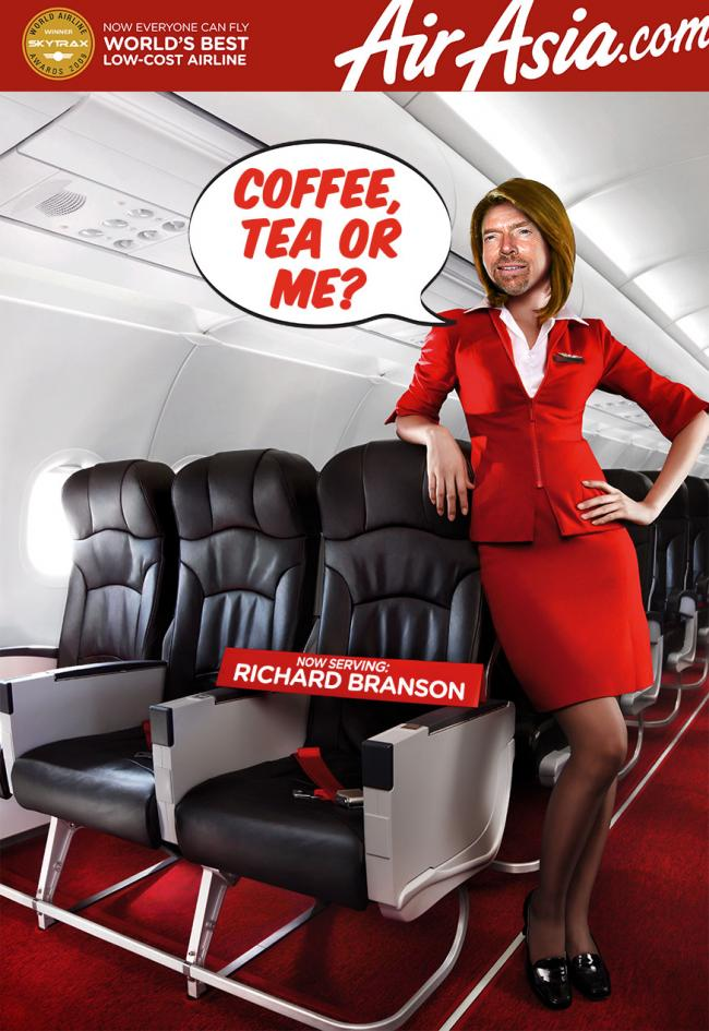 Branson hostess bij Air Asia