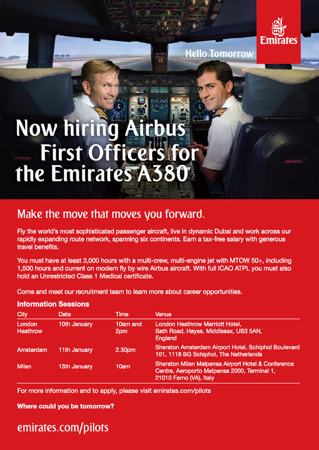 Emirates hiring First Officers for A380 fleet