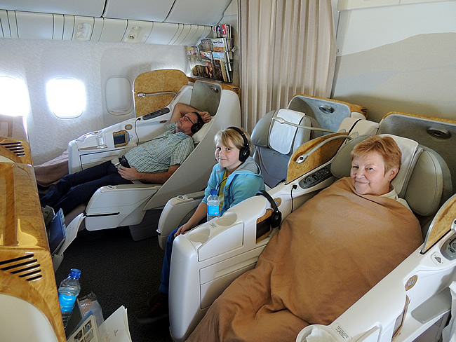 Emirates B777 vlucht in business class