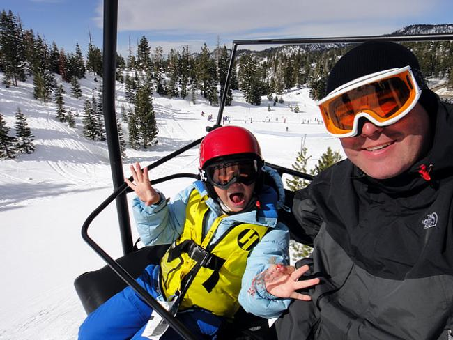 Roos op de skilift