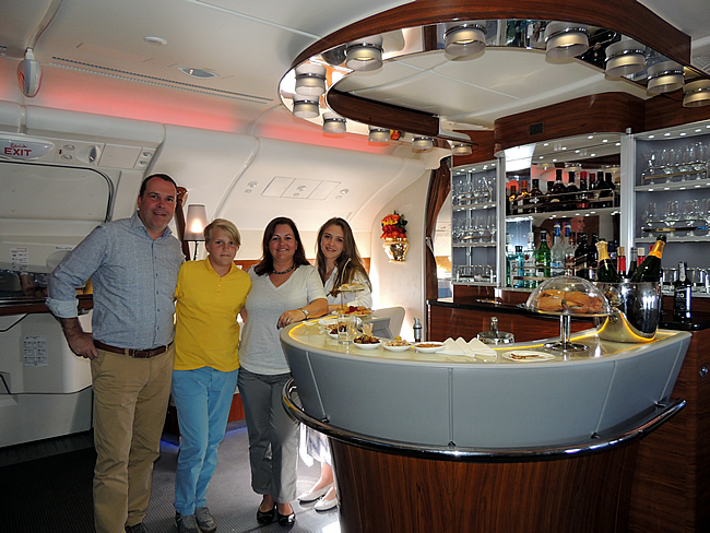Emirates A380 Business Class upperdeck bar